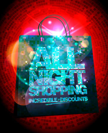 All night shopping sale mockup, incredible discounts banner with gold crystal lettering and shopping bag Illustration