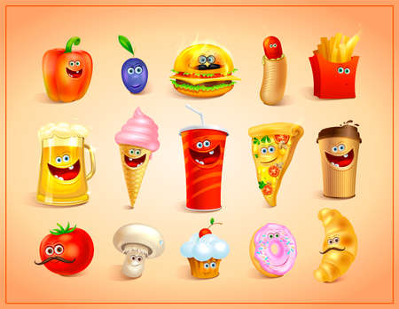 Funny crazy cartoon food icons set - sweets, drinks and fast food characters symbols with cute faces