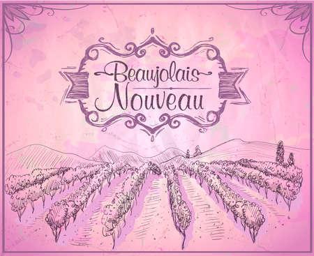 Beaujolais nouveau invitation poster design, old style