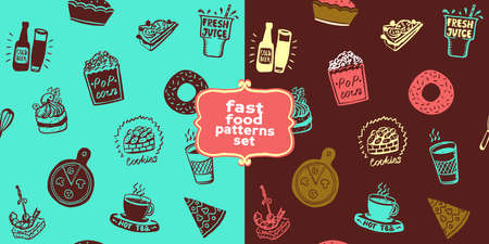 Fast food seamless patterns set with doodle style food symbols - donut, popcorn, pizza, cake, etc.