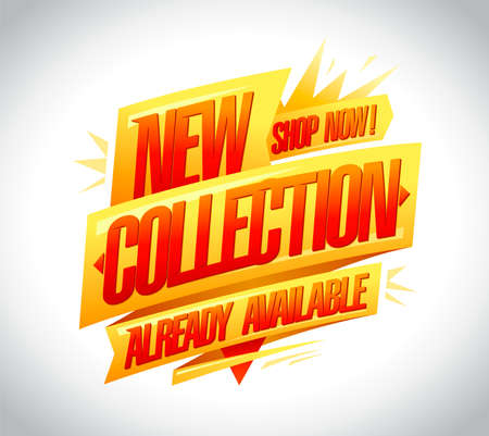 New collection already available, shop now vector banner design Stock Illustratie