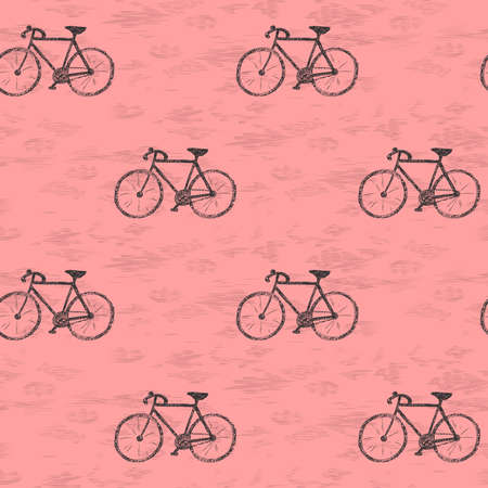 Cote seamless pattern with bicycles