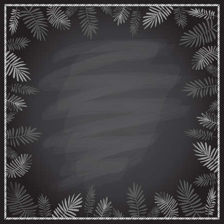 Chalkboard empty background with palm tree border frame Stock Illustratie