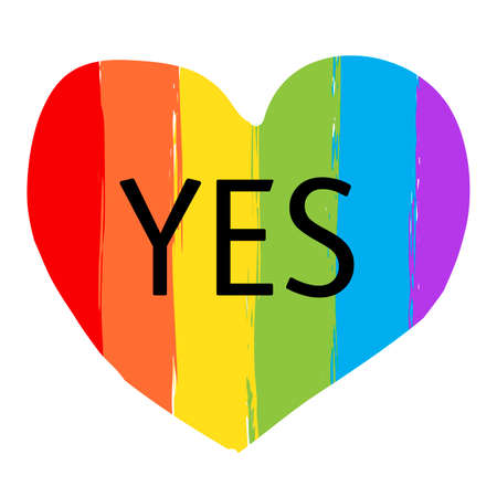 LGBTQ heart shaped rainbow flag with word YES on it