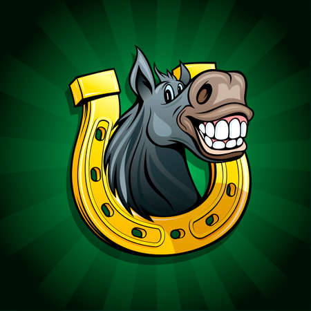 Smiling funny horse portrait with lucky horseshoe