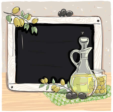 Illustration with bottle of olive oil, fresh olives and chalk blackboard, hand drawn vector graphic illustration 免版税图像 - 153982982