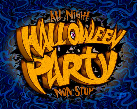 Halloween party graphic banner design with hand drawn lettering Stock Illustratie