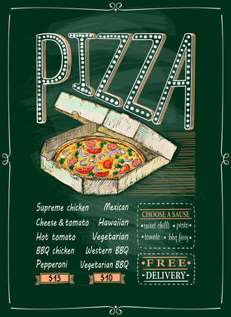 Pizza chalkboard menu with pizza in delivery box illustration, hand drawn lettering