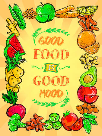 Good food is good mood vector poster with assorted vegetables and fruits border frame, hand drawn graphic illustration, healthy eating quote card concept Stock Illustratie