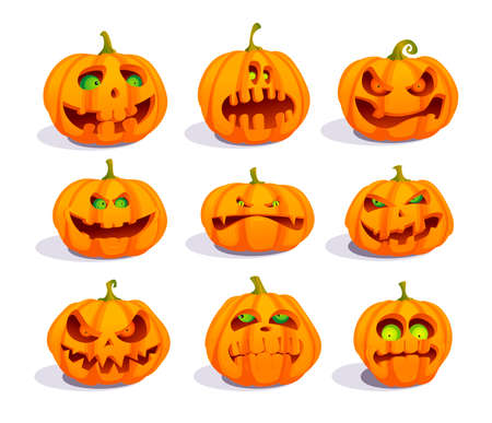Zombie pumpkins with eyes, crazy pumpkin symbols set