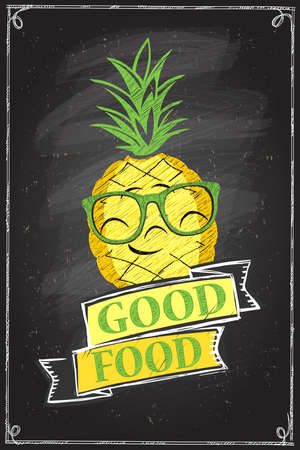 Good food chalkboard poster with smiling pineapple Stock Illustratie