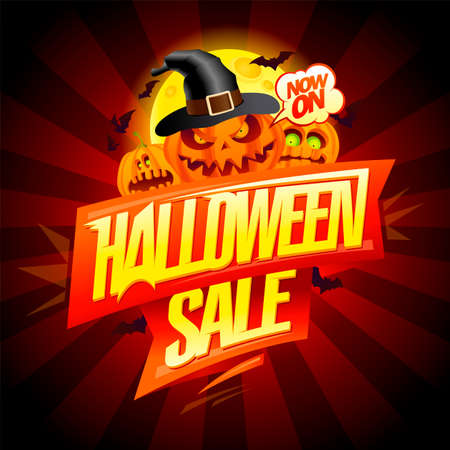 Happy halloween sale vector poster design with scary pumpkins and moon