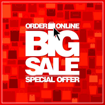 Big sale special offer, order online, vector banner design with paper bags on a red backdrop