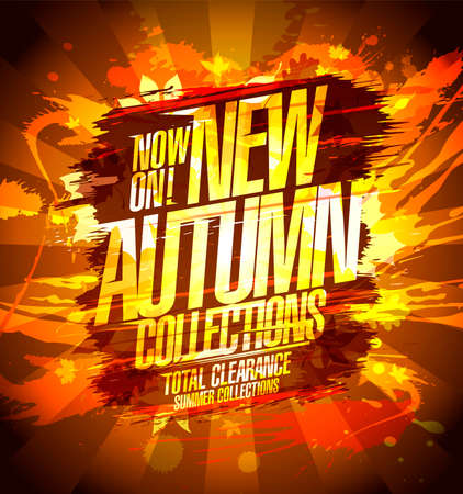 New autumn collections now on, vector banner design with splash blots on a backdrop Stock Illustratie