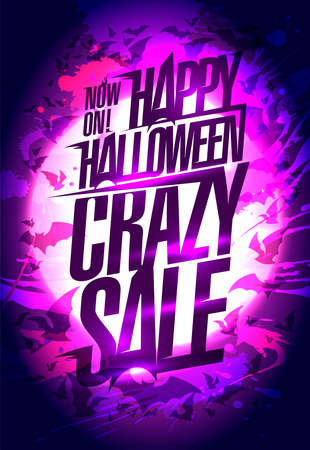 Happy Halloween crazy sale vector poster design Stock Illustratie