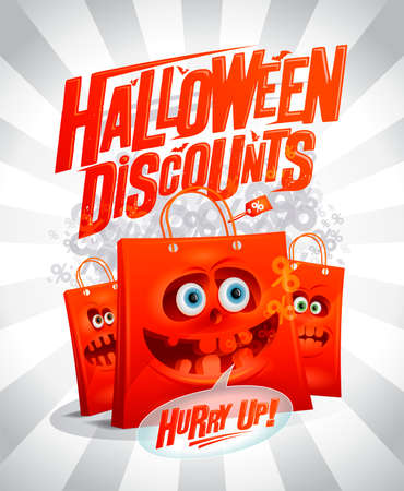 Halloween discounts sale banner mock up with funny spooky paper bags