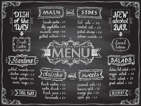 Chalk menu list blackboard design for cafe or restaurant - main and sides, drinks and sweets, salads and starters, dish of the day and alcohol bar