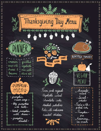 Happy Thanksgiving day holiday menu chalkboard - dinner, pumpkin and vegan menu, roasted turkey and autumn seasonal dishes