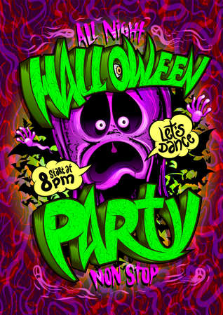 Halloween party poster mockup with screaming ghost Stock Illustratie