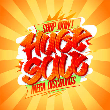 Huge sale, mega discounts, shop now -  poster design template Stock Illustratie