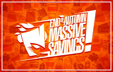 End of autumn massive savings, sale  banner template