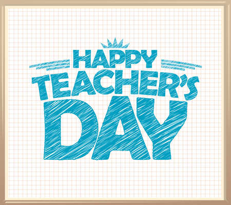 Happy teacher's day banner  template with checkered paper backdrop