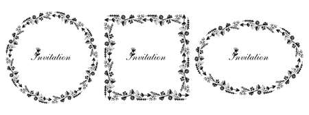 Frames graphic set decorated flowers, black and white hand drawn template
