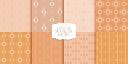 Seamless patterns  set with classical and floral ornaments. Backgrounds suitable for wrapper, textile or wallpaper. Elegant beige colors Stock Illustratie