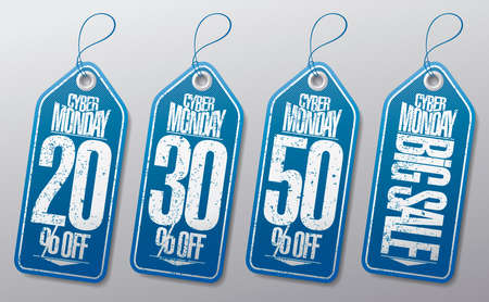 Syber monday sale labels set - 20% off, 30% off, 50% off, big sale