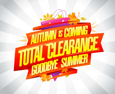 Autumn is coming, total clearance sale summer collections - advertising  banner design template
