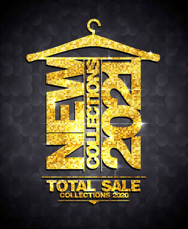 New collections 2021, total sale collections 2020  web banner design with golden mosaic lettering