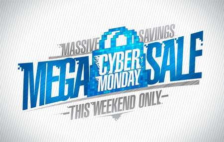 Syber monday mega sale, massive savings this weekend only web banner template