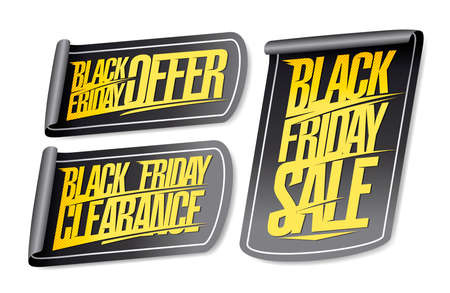 Black friday sale, clearance and offer stickers set Stock Illustratie