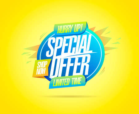 Special offer limited time, hurry up, shop now - web banner design template