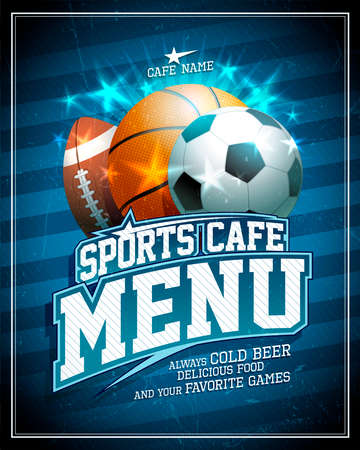 Sports cafe menu card cover design with football, basketball and rugby balls, golden lettering and shiny stars elements Stock Illustratie