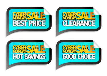Cyber monday sale vector stickers set - best price, clearance, hot savings, good choice