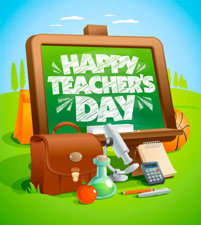 Happy teacher's day card vector illustration, education tools and green chalkboard on a backdrop Stock Illustratie