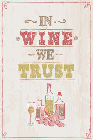 In wine we trust quote card lettering design Stock Illustratie