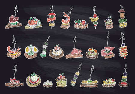 Doodle illustration with canapes and sandwiches on a chalk blackboard, hand drawn vector illustration Illustration