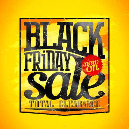 Black friday sale, total clearance now on - vector banner design Stock Illustratie