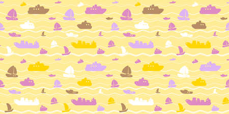 Marina style seamless vector pattern with boats, yachts and sea waves