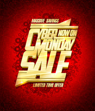 Cyber monday massive savings, limited time offer, sale vector banner design Stock Illustratie