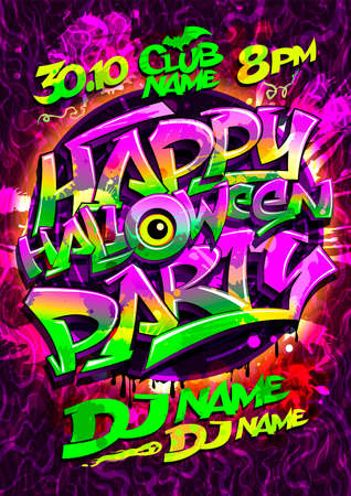 Happy Halloween party poster design with graffiti style lettering, vector invitation card
