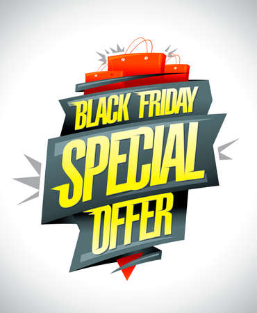 Black friday special offer, sale vector banner design Stock Illustratie