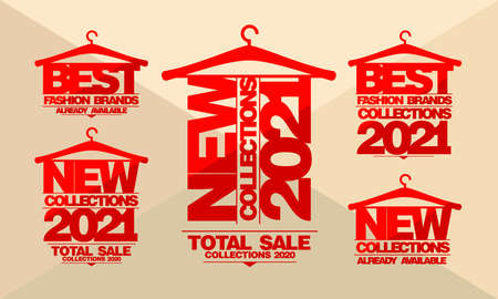 New collections 2021 year advertising signs vector set