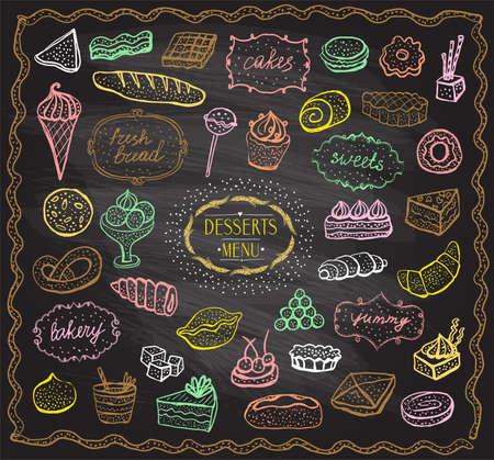 Chalk desserts and baked goods graphic set, doodle style hand drawn illustration on a chalkboard