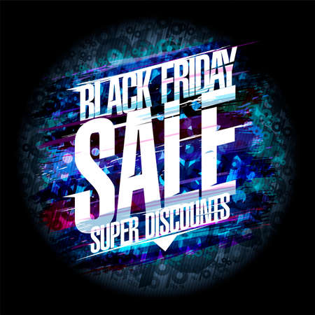Black friday sale poster concept, super discounts vector banner Stock Illustratie