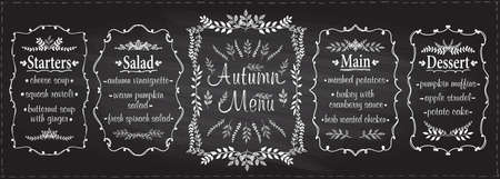 Autumn chalk menu set - starters, salad, main and dessert, chalkboard graphic sketch illustration, seasonal menu