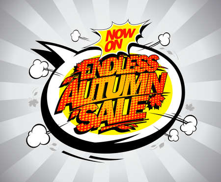 Endless autumn sale web banner design template with speech bubble Stock Illustratie