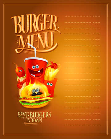 Burger menu list with empty space for text. Fast food personages - hot dog, burger, french fries and soda drink, vector illustration